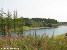Wistlandpound Reservoir, the first glimpse gained from the trackbed as it sweeps into view