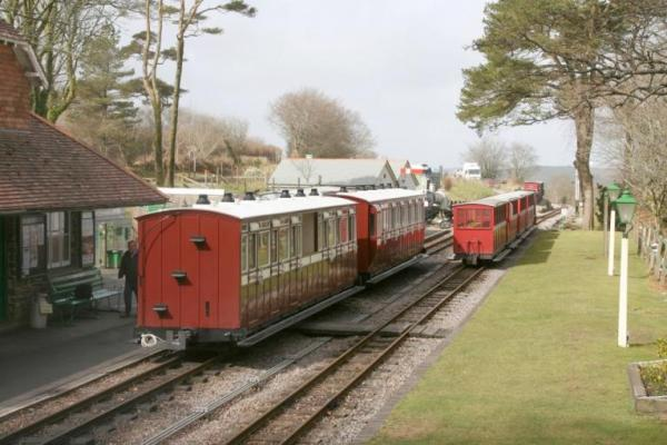 Thorpe Park coaches alongside heritage carriages